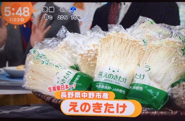 【メディア紹介】「めざましテレビ」に中野市産えのきたけが登場!